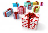 Set of decorated parcels with red ribbon — Foto de Stock