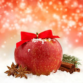 Apple with red ribbon and spices in the snow — Foto de Stock
