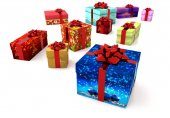 Collection of decorated gift parcels on white background — Stock Photo