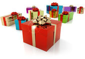 Set of colorful gift parcels on white background — Stock Photo
