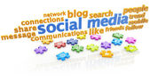 Keywords of social media and puzzle pieces on white background — Stock Photo