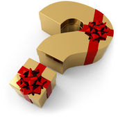 Gifts in the shape of a question mark — Stock Photo
