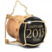 Black champagne cork isolated on white background — Stock Photo