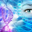 DNA helix and human eye in abstract blue background — Stock Photo #60843281