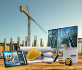 Working tools of the builder in a construction site — Stock Photo