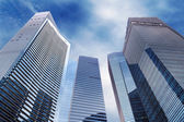 Street view of modern skyscrapers in the daylight — Stock Photo