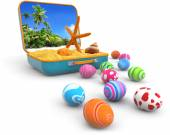 Sand with seashells in a suitcase and easter eggs — Stock Photo