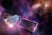 Orbiting device in a purple-blue starry space — Stock Photo