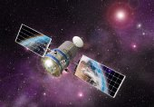 Satellite orbiting the earth in the outer space — Stock Photo