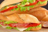 Close up of sandwiches with savoury fillings — Stock Photo