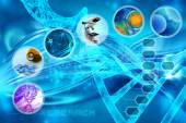 Medicine and cells in an abstract scientific background — Stock Photo