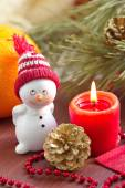 Postcard with snowman and christmas decoration — Stock Photo