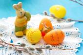 Easter postcard with easter rabbit and eggs — Stock Photo