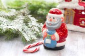 Christmas postcard with Father Frosty and christmas decoration — Stock Photo