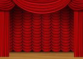 Scena vettoriale con tende rosse e pavimento in legno — Vettoriale Stock