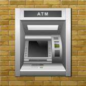 ATM Bank Cash Machine on a Brick Wall Background — Stock Vector