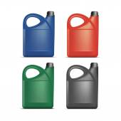 Set of Blank Plastic Jerrycan Canister Gallon Oil — Stock Vector