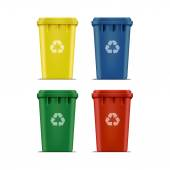 Vector Set of Recycle Bins for Trash and Garbage — Stock Vector