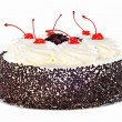 Cake Black Forest with whipped cream, candied cherry and chocola — Stock Photo #62015773