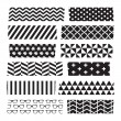 Set of black and white patterned washi tape strips — Stock Vector #52162671