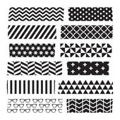 Set of black and white patterned washi tape strips — Stock Vector