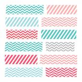 Set of colorful patterned washi tape stripes — Stock Vector