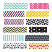 Set of colourful patterned washi tape strips — Stock Vector