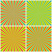 Backgrounds Set With Radial Rays — Stock Vector