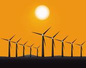 Windmills to generate energy — Stock Vector