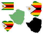 Mapa de zimbabwe — Vector de stock