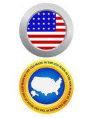 Button as a symbol of America — Stock Vector