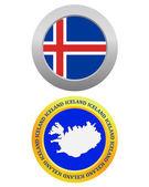 Button as a symbol ICELAND — Stock Vector