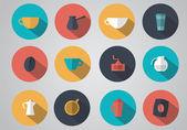 Набор квартиры символов кофе — Cтоковый вектор