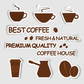 Set of coffee stickers — Stock Vector
