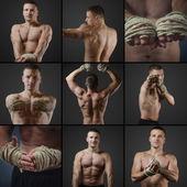 Legen Sie Fotos von einer jungen Thai-boxer — Stockfoto