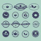 Set of vintage tea logos — Vetor de Stock