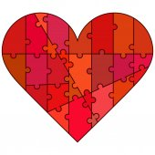 Puzzle kalp — Stok Vektör