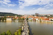 View of Prague and Charles bridge — Stock fotografie