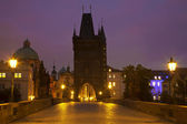 Charles bridge at night. Prague — Stock fotografie