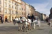 Walk around Krakow in carriages — Stock Photo