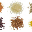 Collection Set of Cereal Grains and Seeds Heaps — Stock Photo #68174377