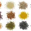 Collection Set of Cereal Grains and Seeds Heaps — Stock Photo #68577665