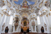 World heritage wall and ceiling frescoes of wieskirche church in bavaria — Stock Photo