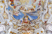 World heritage wall and ceiling frescoes of wieskirche church in bavaria — Stockfoto