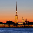 Peter and Paul fortress view at sunset during the white nights in St. Petersburg. — Stock Photo #77868504
