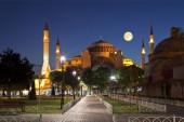 View of the Hagia Sophia at moon night, — Stock Photo