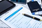 Filling Travel insurance claim form — Stock Photo