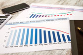 Analyzing graphics with evolution exchange rate euro dollar — Stock Photo