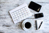Checking monthly activities in the calendar — Stock Photo