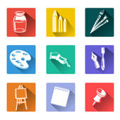 Flat icons with drawing tools — Stock Vector